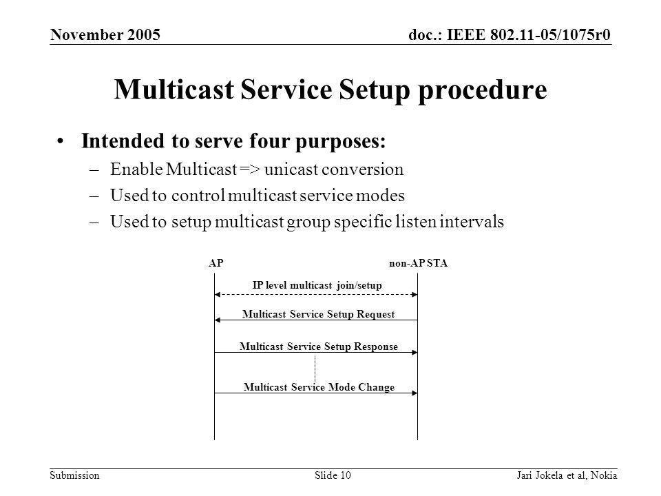 doc.: IEEE 802.11-05/1075r0 Submission November 2005 Jari Jokela et al, NokiaSlide 10 Multicast Service Setup procedure Intended to serve four purposes: –Enable Multicast => unicast conversion –Used to control multicast service modes –Used to setup multicast group specific listen intervals APnon-AP STA IP level multicast join/setup Multicast Service Setup Request Multicast Service Setup Response Multicast Service Mode Change