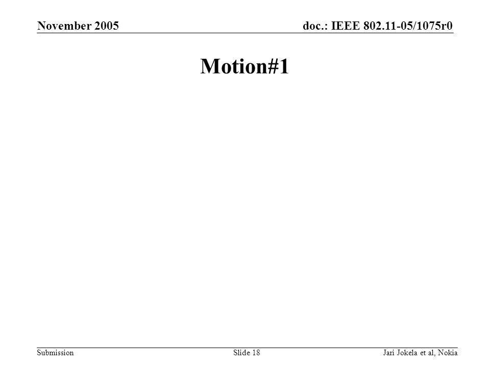 doc.: IEEE 802.11-05/1075r0 Submission November 2005 Jari Jokela et al, NokiaSlide 18 Motion#1