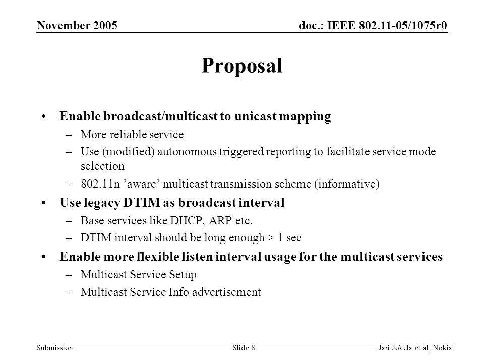 doc.: IEEE 802.11-05/1075r0 Submission November 2005 Jari Jokela et al, NokiaSlide 8 Proposal Enable broadcast/multicast to unicast mapping –More reliable service –Use (modified) autonomous triggered reporting to facilitate service mode selection –802.11n 'aware' multicast transmission scheme (informative) Use legacy DTIM as broadcast interval –Base services like DHCP, ARP etc.