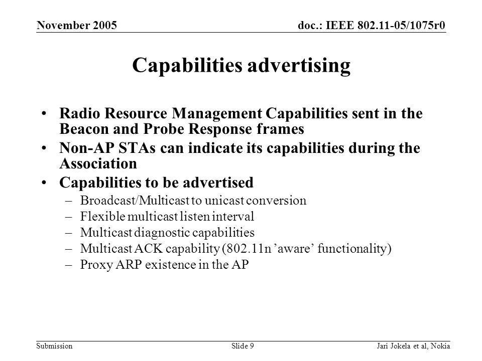 doc.: IEEE 802.11-05/1075r0 Submission November 2005 Jari Jokela et al, NokiaSlide 9 Capabilities advertising Radio Resource Management Capabilities sent in the Beacon and Probe Response frames Non-AP STAs can indicate its capabilities during the Association Capabilities to be advertised –Broadcast/Multicast to unicast conversion –Flexible multicast listen interval –Multicast diagnostic capabilities –Multicast ACK capability (802.11n 'aware' functionality) –Proxy ARP existence in the AP