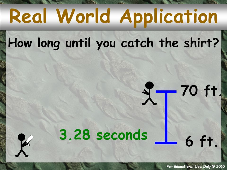 For Educational Use Only © 2010 shirt Real World Application How long until you catch the shirt.