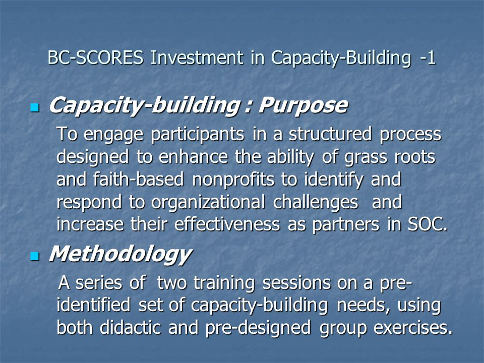 BC-SCORES Investment in Capacity-Building -1 Capacity-building : Purpose Capacity-building : Purpose To engage participants in a structured process designed to enhance the ability of grass roots and faith-based nonprofits to identify and respond to organizational challenges and increase their effectiveness as partners in SOC.
