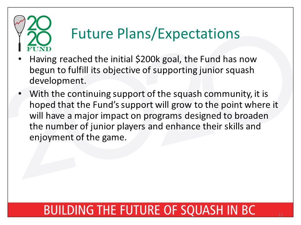 Future Plans/Expectations Having reached the initial $200k goal, the Fund has now begun to fulfill its objective of supporting junior squash development.