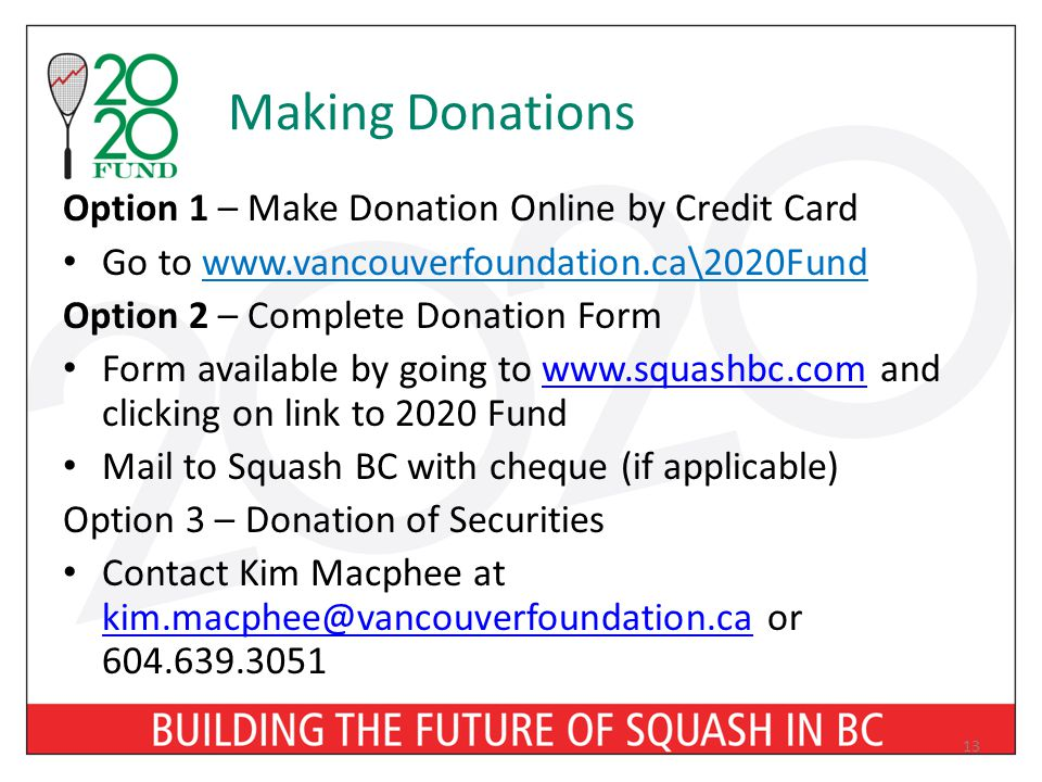 Making Donations Option 1 – Make Donation Online by Credit Card Go to www.vancouverfoundation.ca\2020Fund Option 2 – Complete Donation Form Form avail