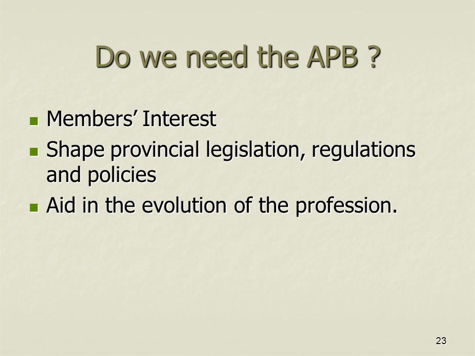 23 Do we need the APB ? Members' Interest Members' Interest Shape provincial legislation, regulations and policies Shape provincial legislation, regul