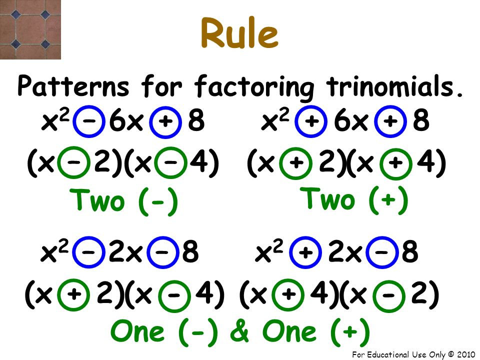 For Educational Use Only © 2010 Rule x 2 – 2x – 8 One (-) & One (+) Patterns for factoring trinomials.