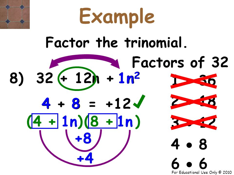 For Educational Use Only © 2010 +8 8 + 8) 32 + 12n + n 2 1n +4 1 4 + 8 8 4 ( 4 + +12 = Factor the trinomial.