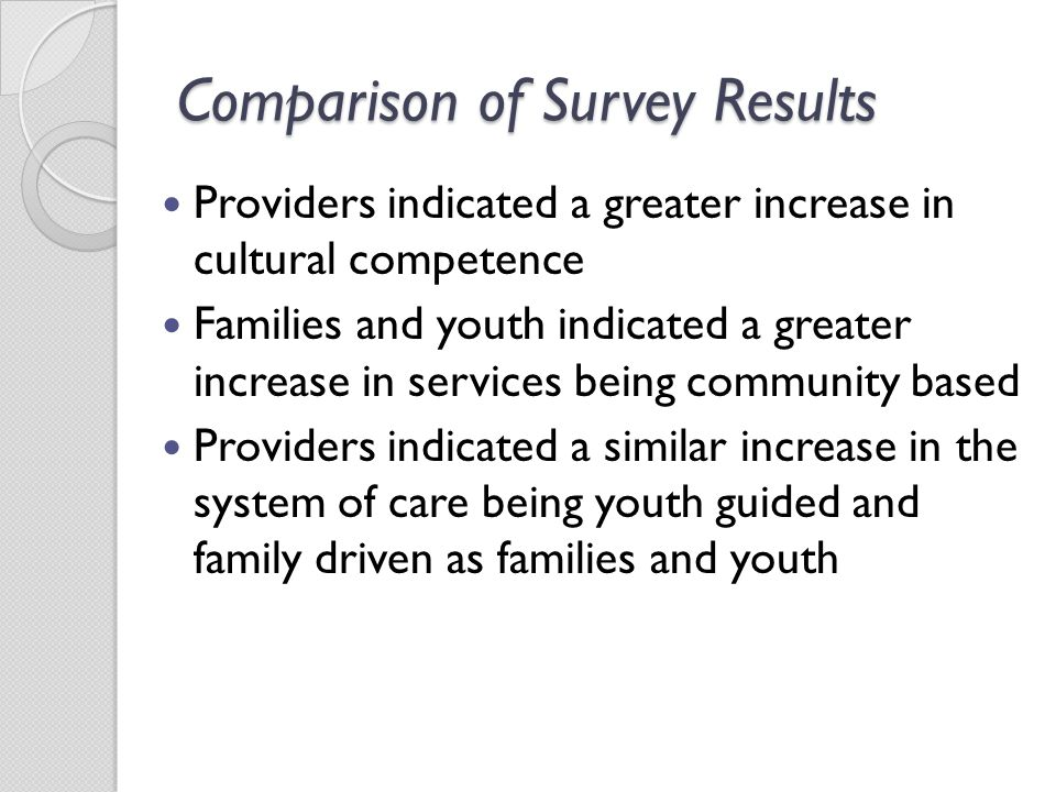 Providers indicated a greater increase in cultural competence Families and youth indicated a greater increase in services being community based Providers indicated a similar increase in the system of care being youth guided and family driven as families and youth