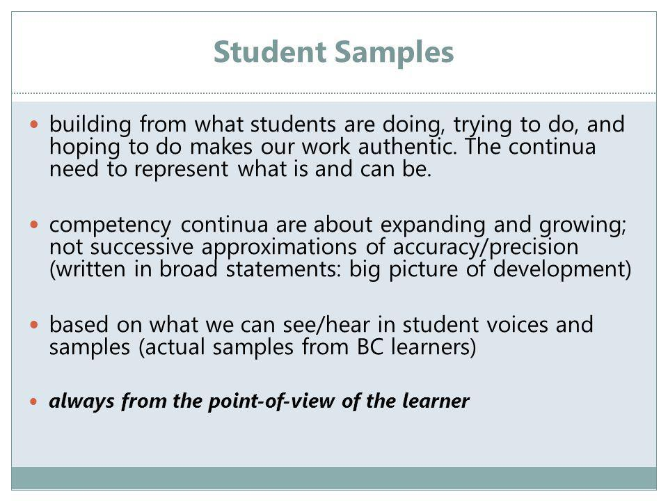 Student Samples building from what students are doing, trying to do, and hoping to do makes our work authentic.