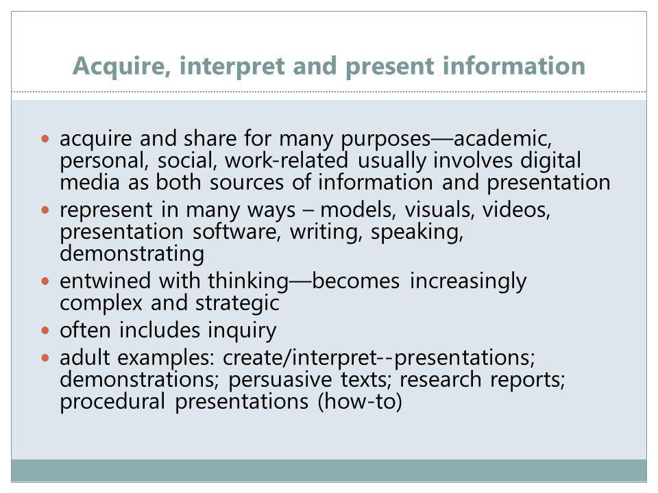 Acquire, interpret and present information acquire and share for many purposes—academic, personal, social, work-related usually involves digital media as both sources of information and presentation represent in many ways – models, visuals, videos, presentation software, writing, speaking, demonstrating entwined with thinking—becomes increasingly complex and strategic often includes inquiry adult examples: create/interpret--presentations; demonstrations; persuasive texts; research reports; procedural presentations (how-to)