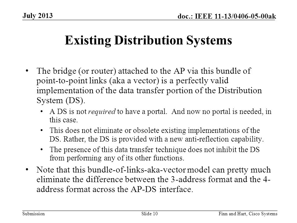 Submission doc.: IEEE 11-13/0406-05-00ak Existing Distribution Systems The bridge (or router) attached to the AP via this bundle of point-to-point links (aka a vector) is a perfectly valid implementation of the data transfer portion of the Distribution System (DS).