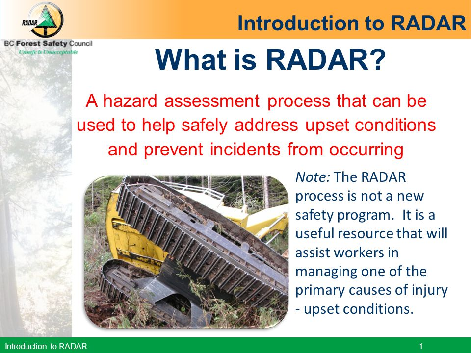 Introduction to RADAR 12 5.Weight. Am I lifting properly.
