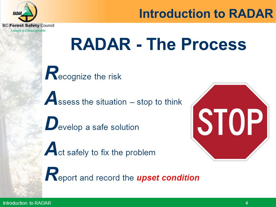 Introduction to RADAR 5 When to use RADAR.