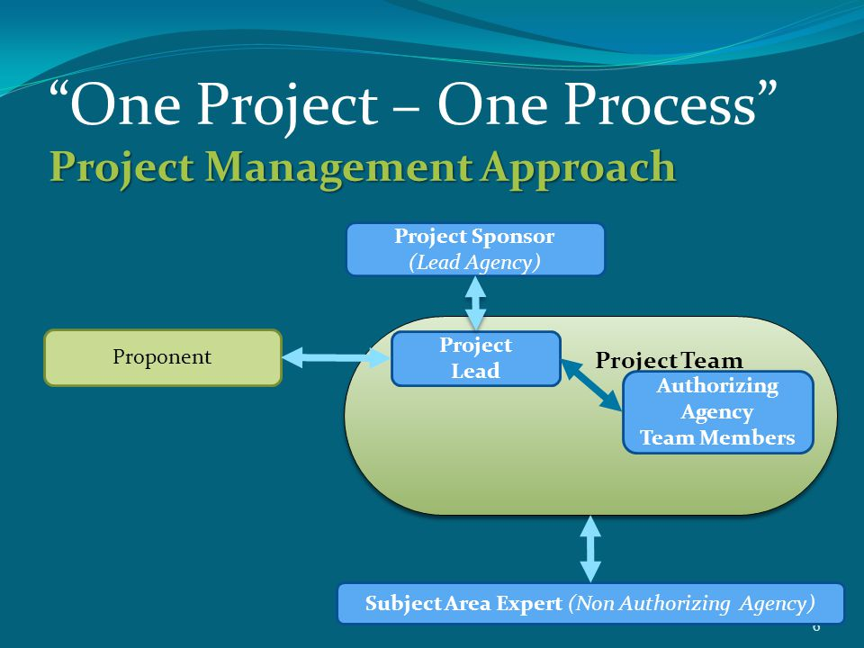 """6 Project Management Approach """"One Project – One Process"""" Project Management Approach Proponent Project Sponsor (Lead Agency) Project Team Project Lea"""