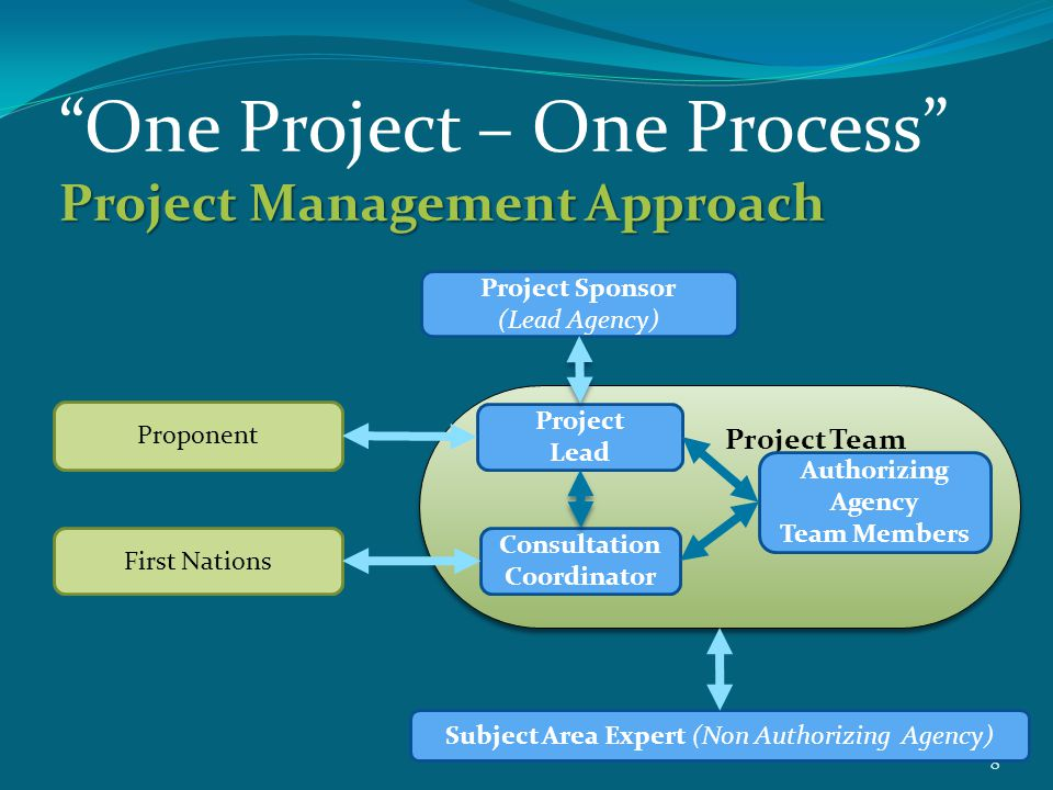 """8 Project Management Approach """"One Project – One Process"""" Project Management Approach Proponent First Nations Project Sponsor (Lead Agency) Project Te"""
