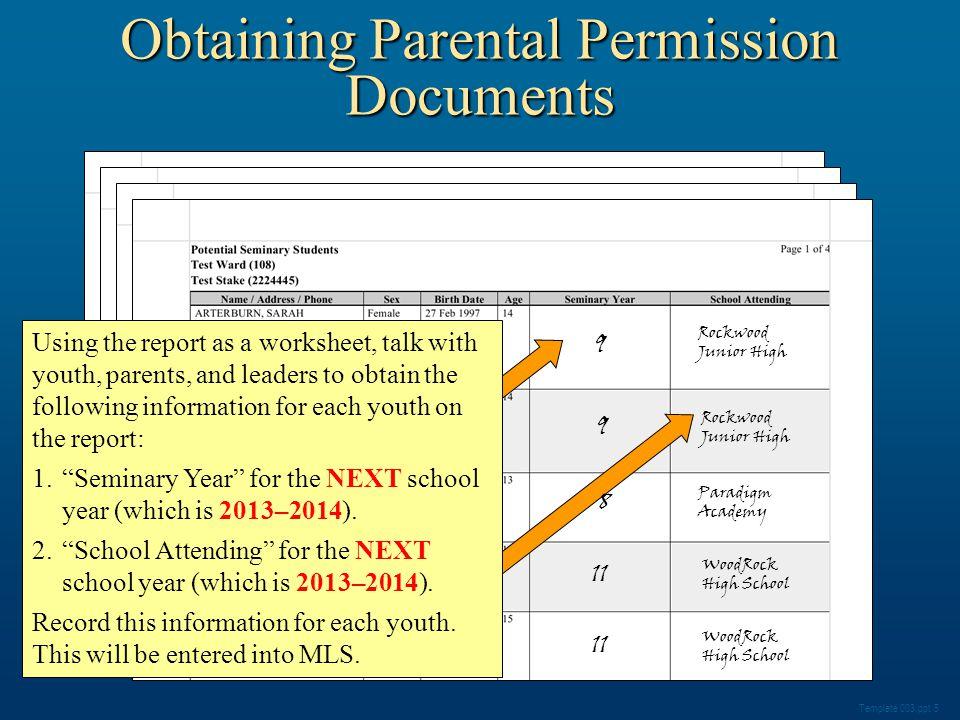 Click Seminary Enrollment Progress. Obtaining Parental Permission Documents