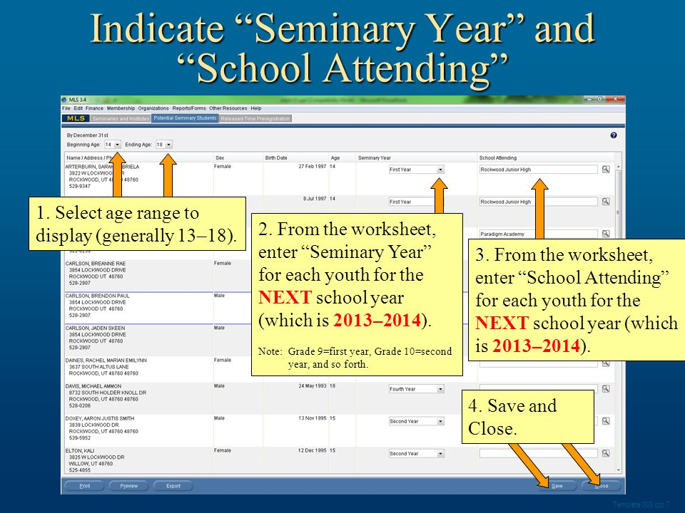 Indicate Seminary Year and School Attending Template 003.ppt 7 1.