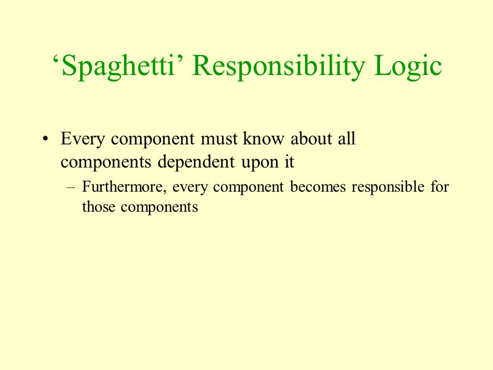 'Spaghetti' Responsibility Logic Every component must know about all components dependent upon it –Furthermore, every component becomes responsible fo
