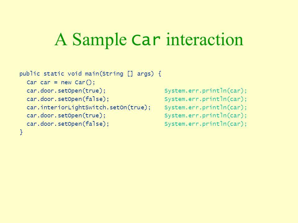 A Sample Car interaction public static void main(String [] args) { Car car = new Car(); car.door.setOpen(true); System.err.println(car); car.door.setO