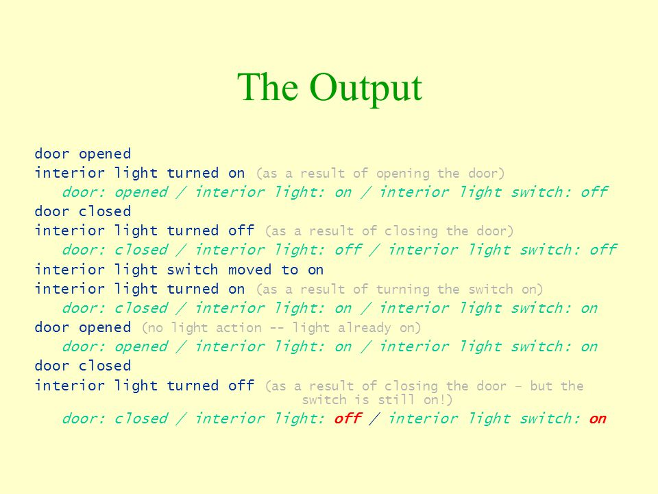 The Output door opened interior light turned on (as a result of opening the door) door: opened / interior light: on / interior light switch: off door