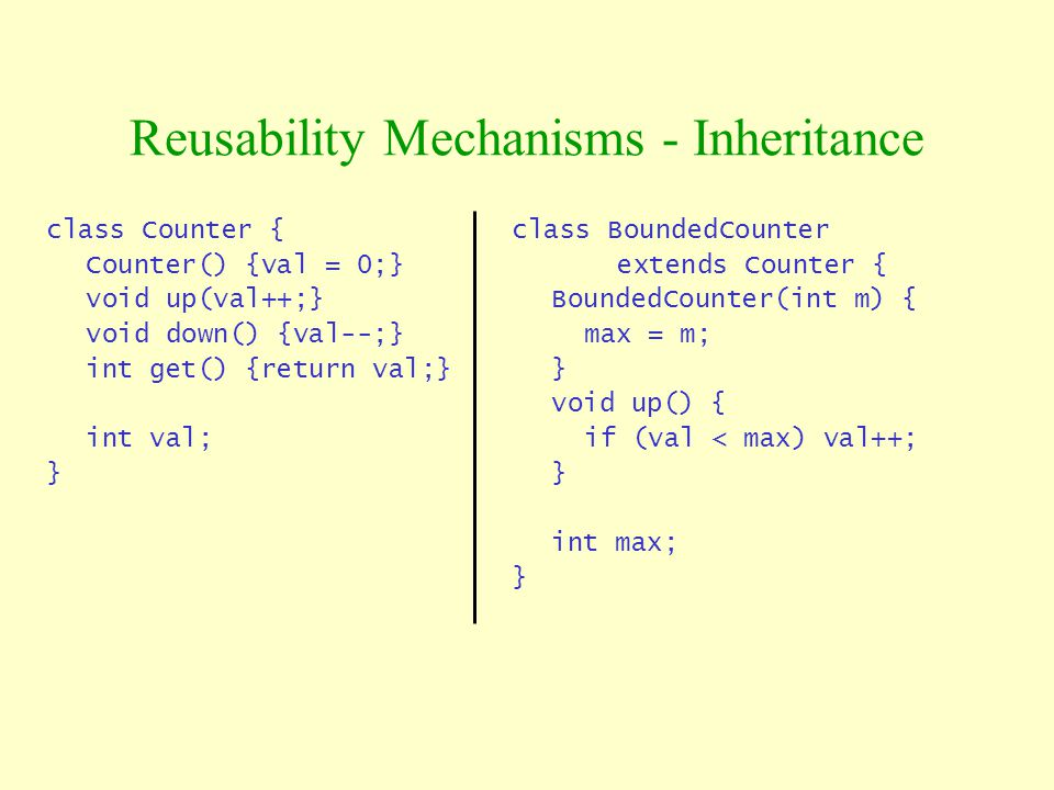 class Counter { Counter() {val = 0;} void up(val++;} void down() {val--;} int get() {return val;} int val; } Reusability Mechanisms - Inheritance clas