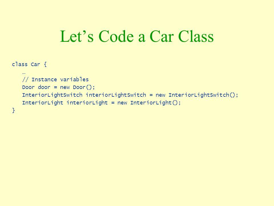 Let's Code a Car Class class Car { … // Instance variables Door door = new Door(); InteriorLightSwitch interiorLightSwitch = new InteriorLightSwitch()