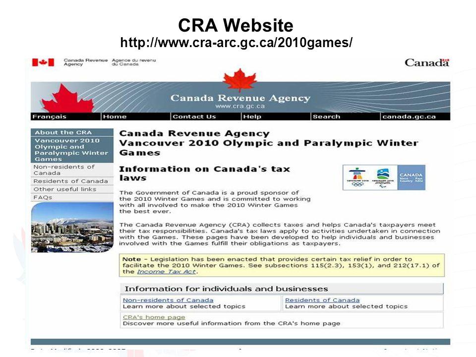 CRA Website http://www.cra-arc.gc.ca/2010games/