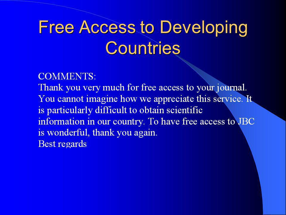 Free Access to Developing Countries