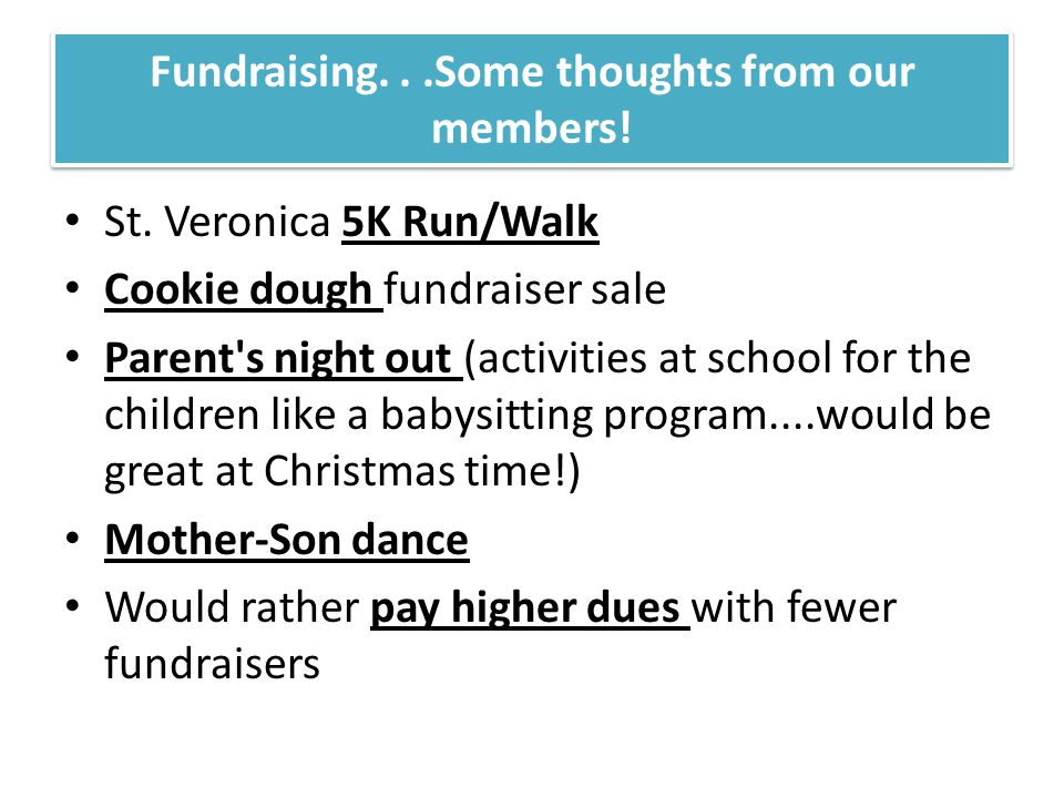 Fundraising...Some thoughts from our members. St.