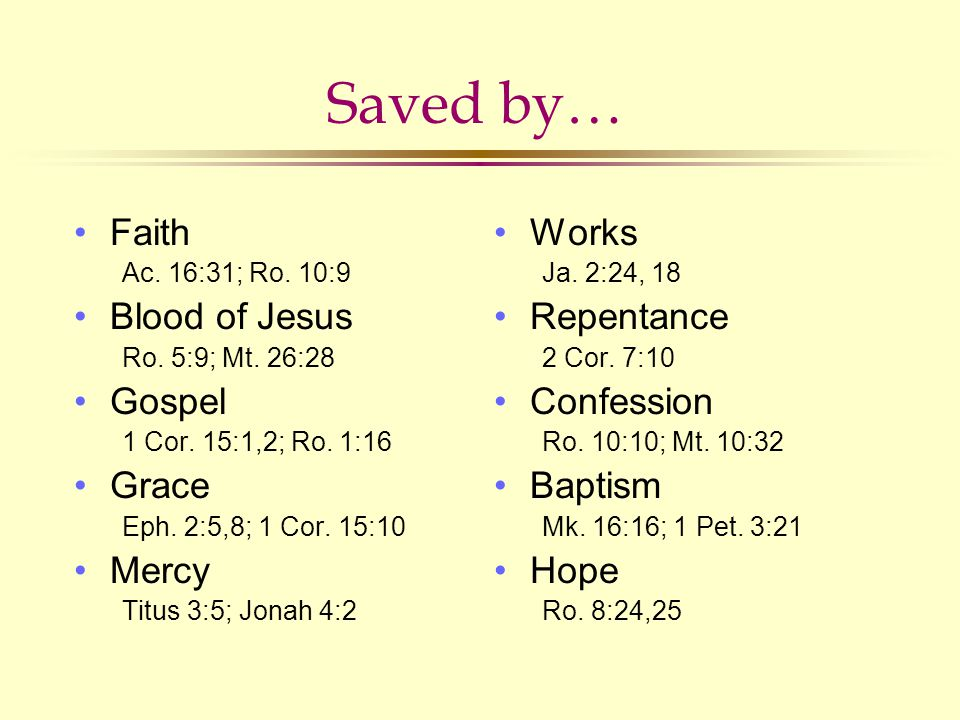 Saved by… Faith Ac.16:31; Ro. 10:9 Blood of Jesus Ro.