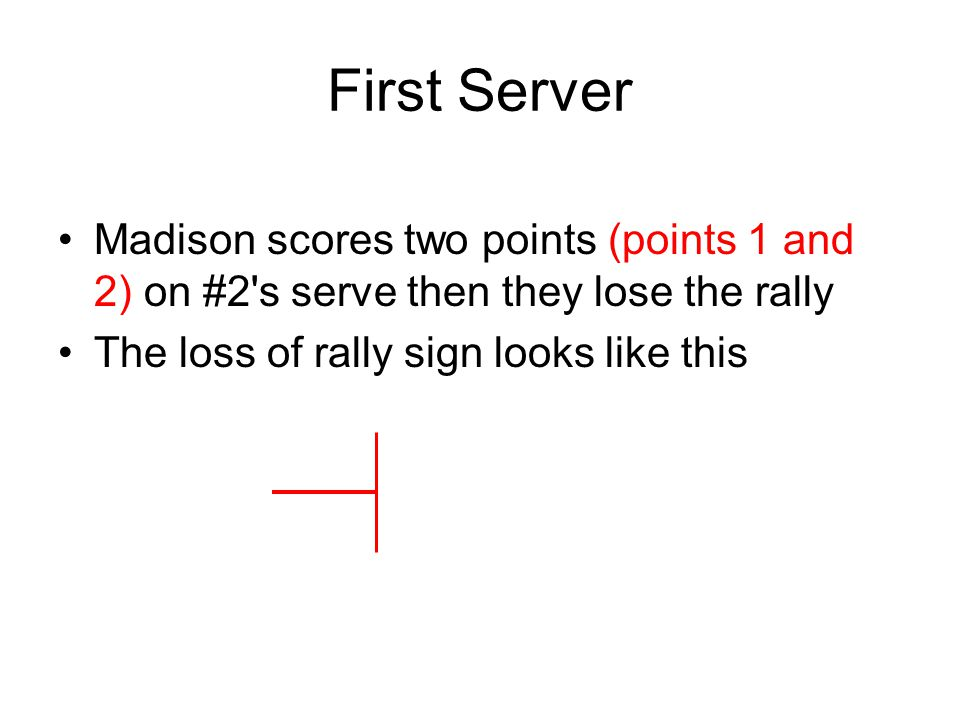 Madison scores two points (points 1 and 2) on #2's serve then they lose the rally The loss of rally sign looks like this First Server