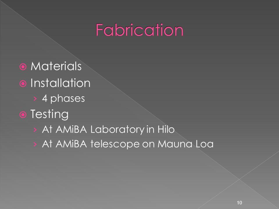  Materials  Installation › 4 phases  Testing › At AMiBA Laboratory in Hilo › At AMiBA telescope on Mauna Loa 10