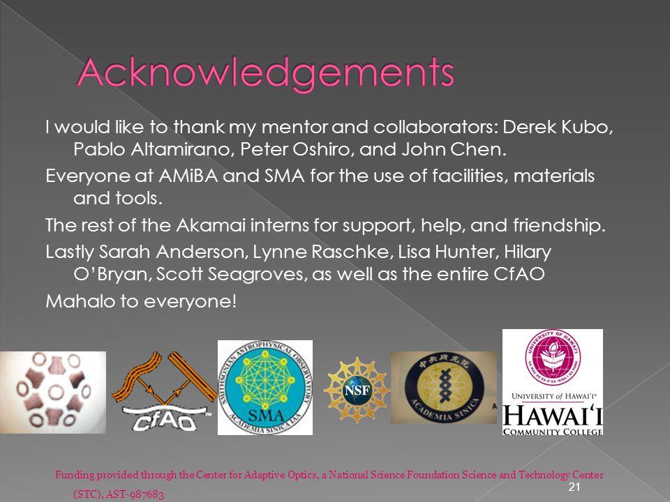 I would like to thank my mentor and collaborators: Derek Kubo, Pablo Altamirano, Peter Oshiro, and John Chen.