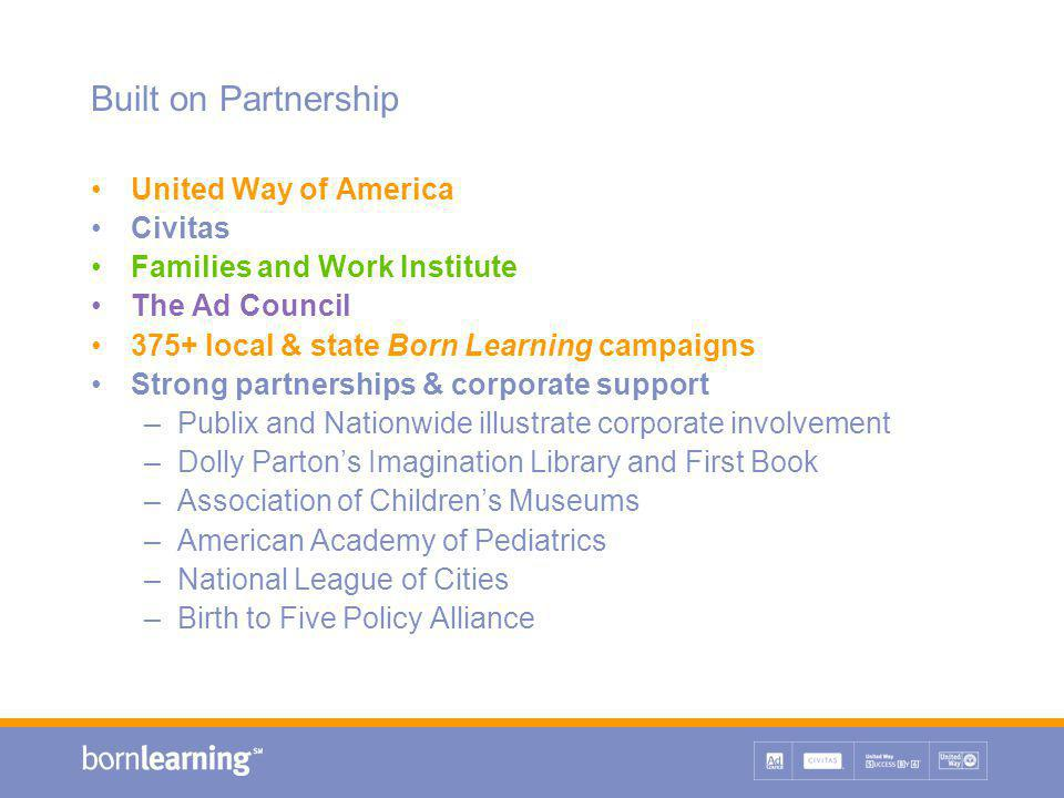 Built on Partnership United Way of America Civitas Families and Work Institute The Ad Council 375+ local & state Born Learning campaigns Strong partnerships & corporate support –Publix and Nationwide illustrate corporate involvement –Dolly Parton's Imagination Library and First Book –Association of Children's Museums –American Academy of Pediatrics –National League of Cities –Birth to Five Policy Alliance