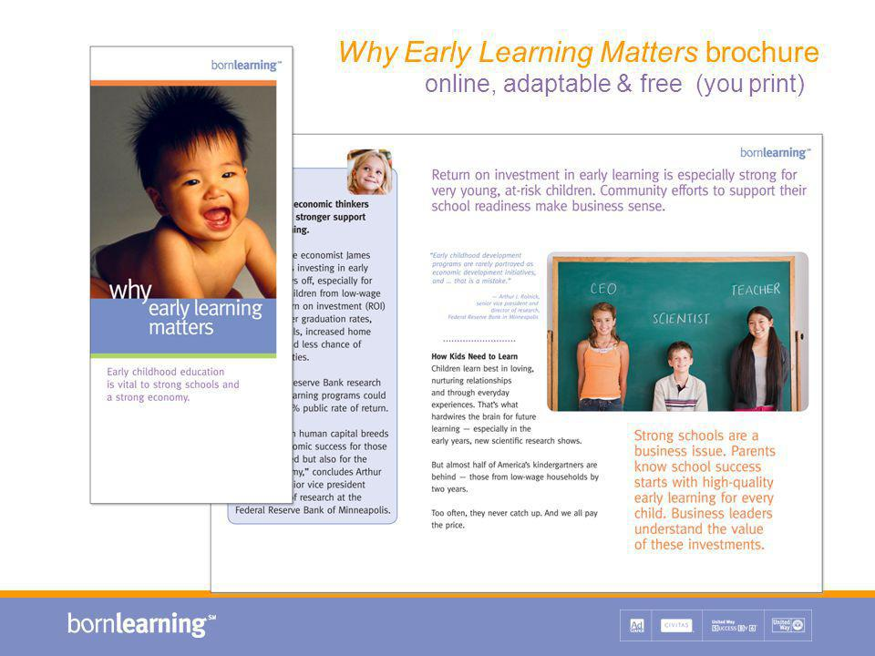 Why Early Learning Matters brochure online, adaptable & free (you print)