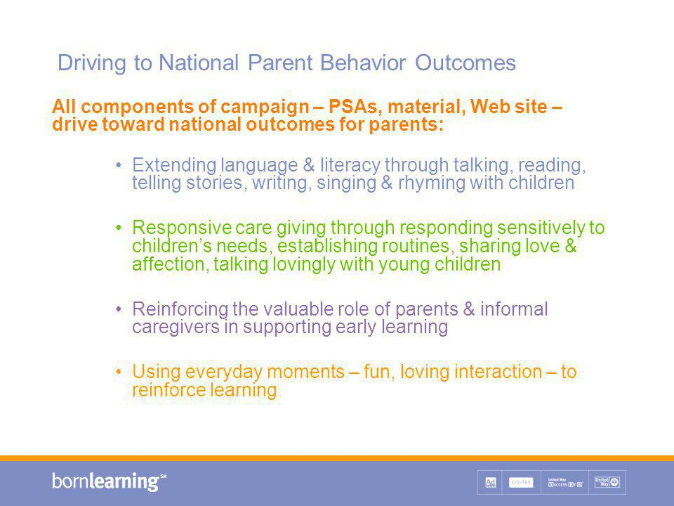 Driving to National Parent Behavior Outcomes All components of campaign – PSAs, material, Web site – drive toward national outcomes for parents: Extending language & literacy through talking, reading, telling stories, writing, singing & rhyming with children Responsive care giving through responding sensitively to children's needs, establishing routines, sharing love & affection, talking lovingly with young children Reinforcing the valuable role of parents & informal caregivers in supporting early learning Using everyday moments – fun, loving interaction – to reinforce learning