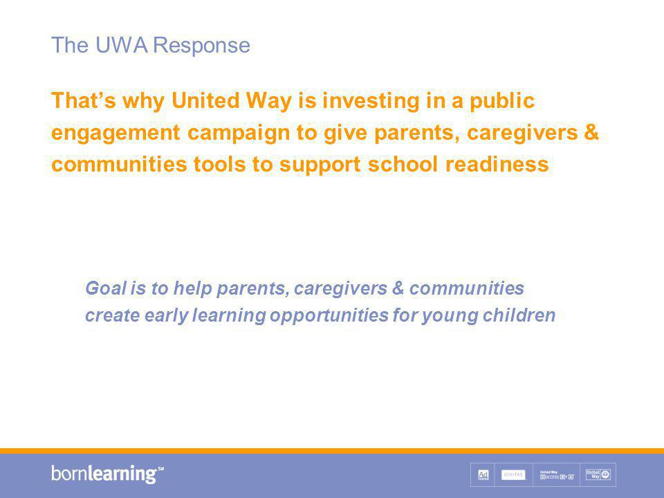 The UWA Response That's why United Way is investing in a public engagement campaign to give parents, caregivers & communities tools to support school readiness Goal is to help parents, caregivers & communities create early learning opportunities for young children