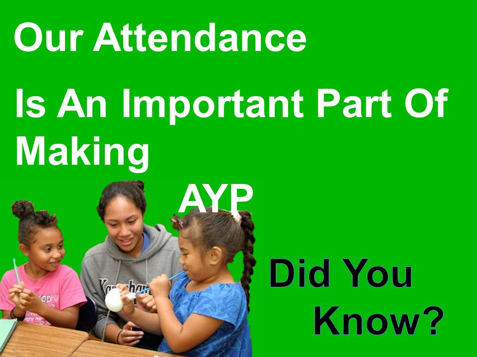 Our Attendance Is An Important Part Of Making AYP