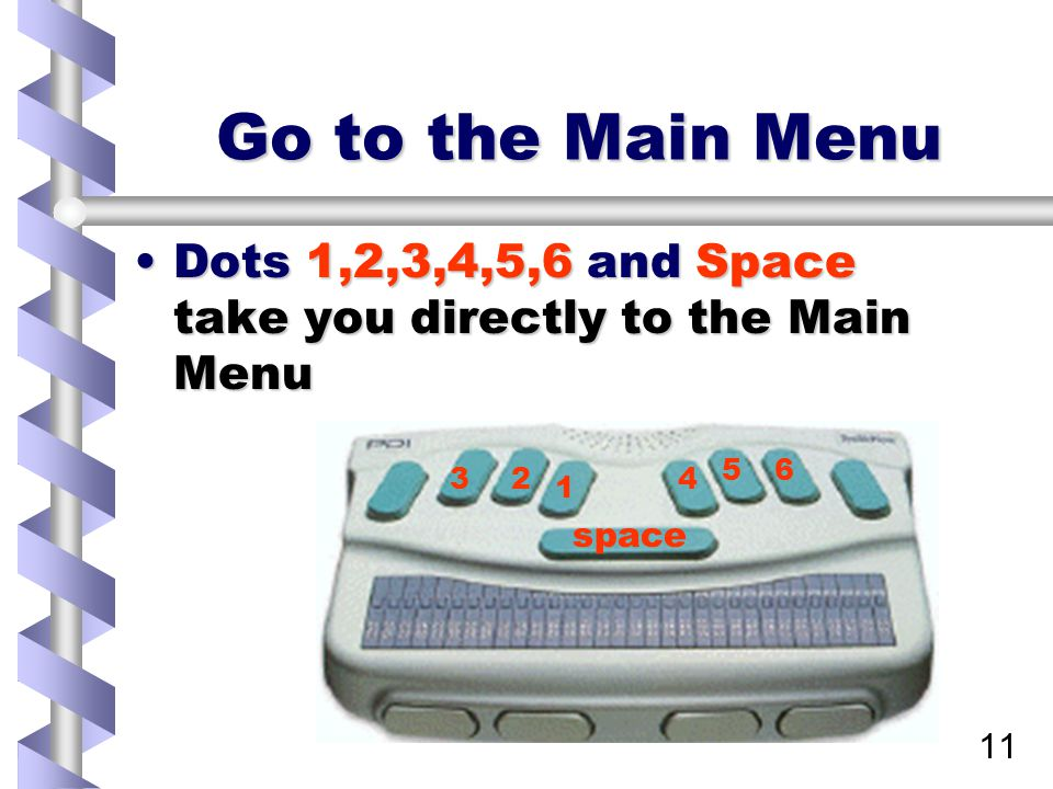 11 Go to the Main Menu Dots 1,2,3,4,5,6 and Space take you directly to the Main MenuDots 1,2,3,4,5,6 and Space take you directly to the Main Menu 1 23