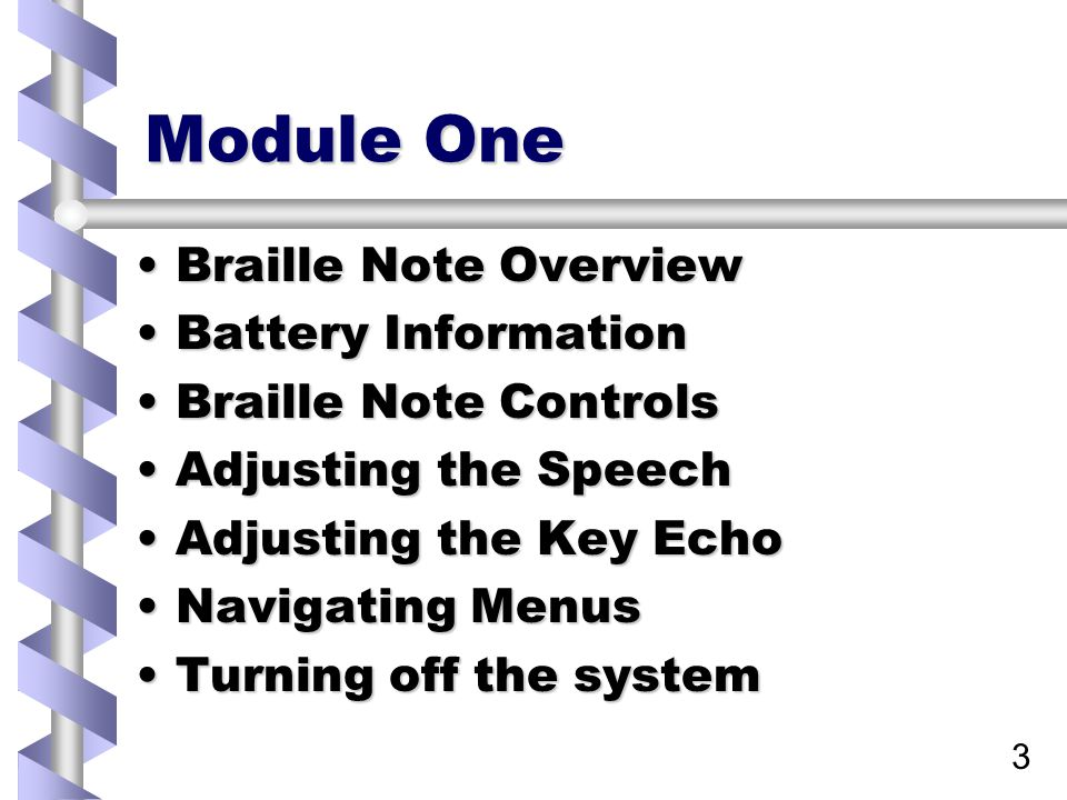 34 Lesson 4 Turning the system off The Braille Note remembers where you were working when you turn it off, and will return there when you turn it back onThe Braille Note remembers where you were working when you turn it off, and will return there when you turn it back on While it is designed to automatically save files, it is always recommended that you return to the Main Menu firstWhile it is designed to automatically save files, it is always recommended that you return to the Main Menu first
