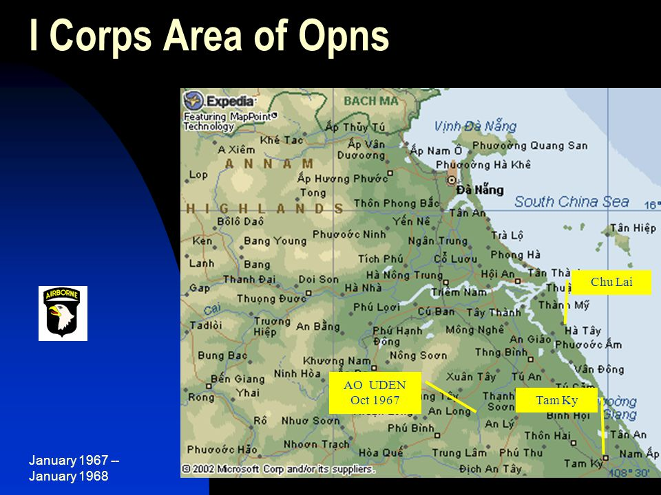 January 1967 -- January 1968 53 I Corps Area of Opns Tam Ky AO UDEN Oct 1967 Chu Lai