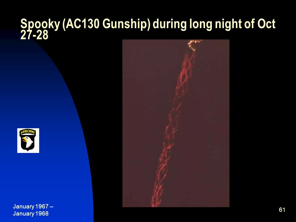 January 1967 -- January 1968 61 Spooky (AC130 Gunship) during long night of Oct 27-28