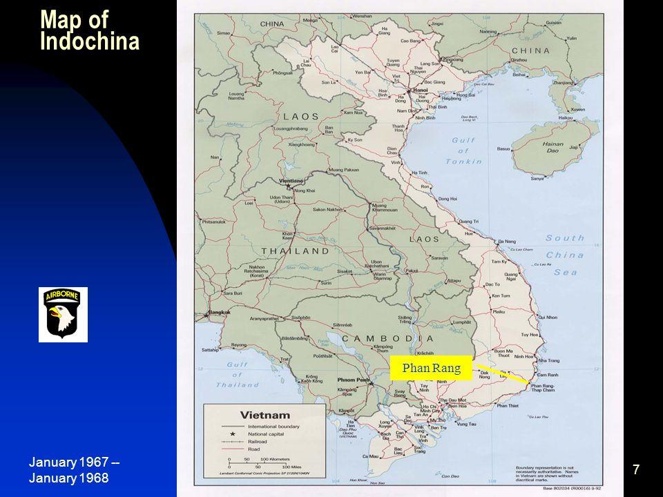 January 1967 -- January 1968 68 B/2-327 th Change of Command Nov 11, 1967, near Tam Ky, L-R: J.