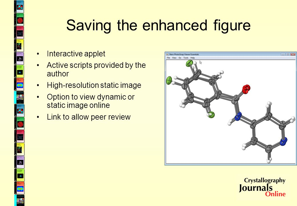 Saving the enhanced figure Interactive applet Active scripts provided by the author High-resolution static image Option to view dynamic or static image online Link to allow peer review