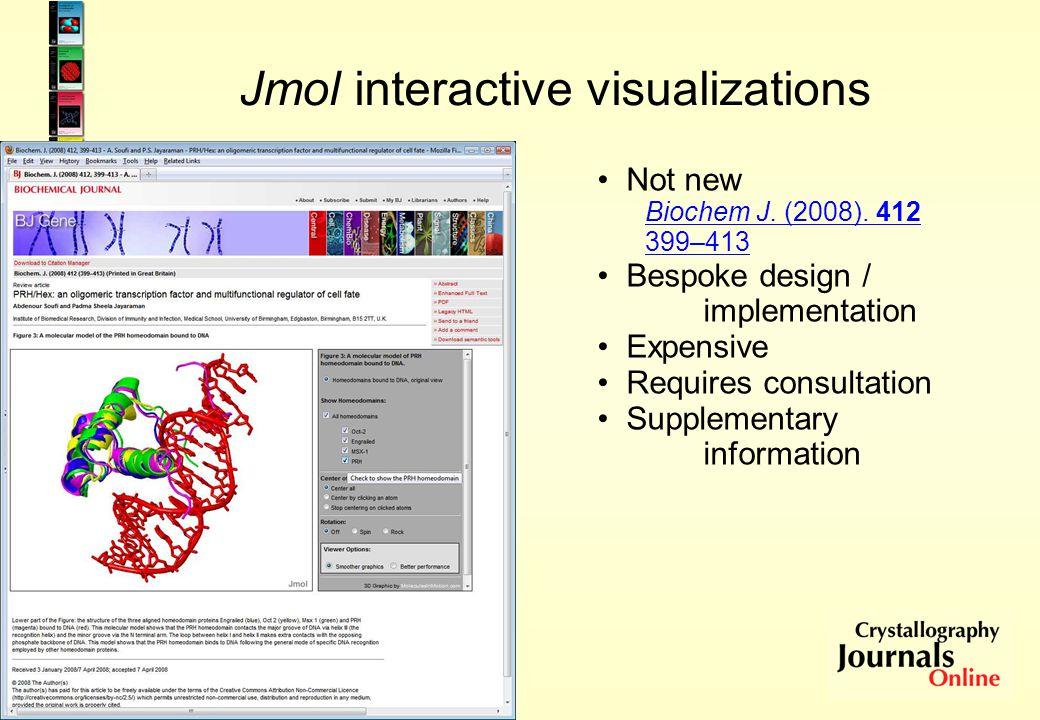 Jmol interactive visualizations Not new Biochem J.