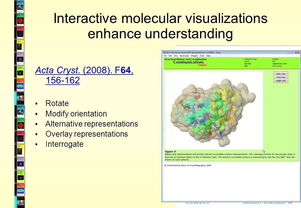 Interactive molecular visualizations enhance understanding Acta Cryst. (2008). F64, 156-162 Rotate Modify orientation Alternative representations Over