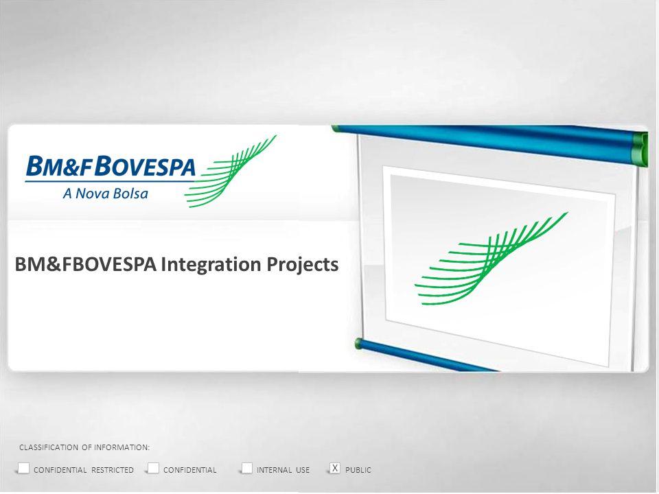 BM&FBOVESPA Integration Projects CLASSIFICATION OF INFORMATION: CONFIDENTIAL RESTRICTEDCONFIDENTIALINTERNAL USEPUBLIC X