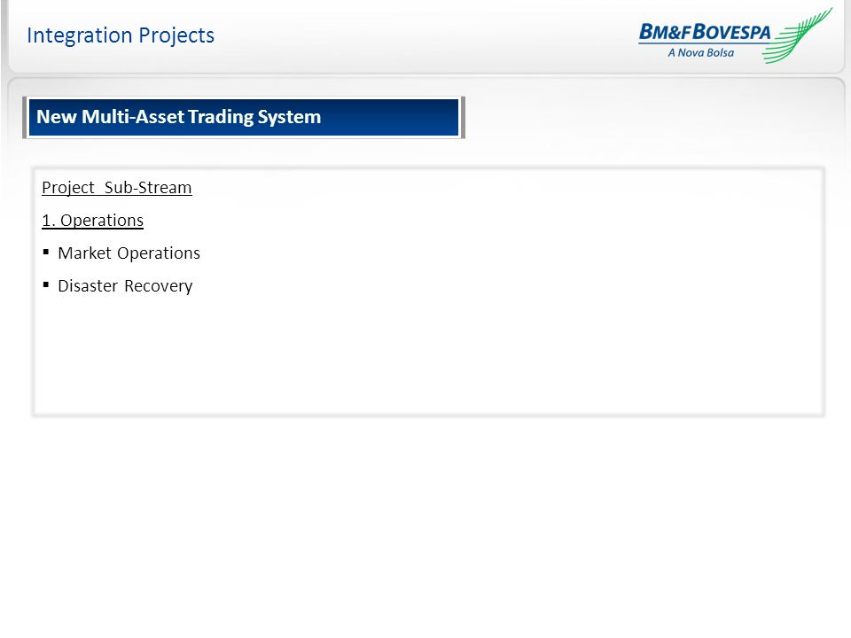 Integration Projects Project Sub-Stream 1. Operations  Market Operations  Disaster Recovery New Multi-Asset Trading System