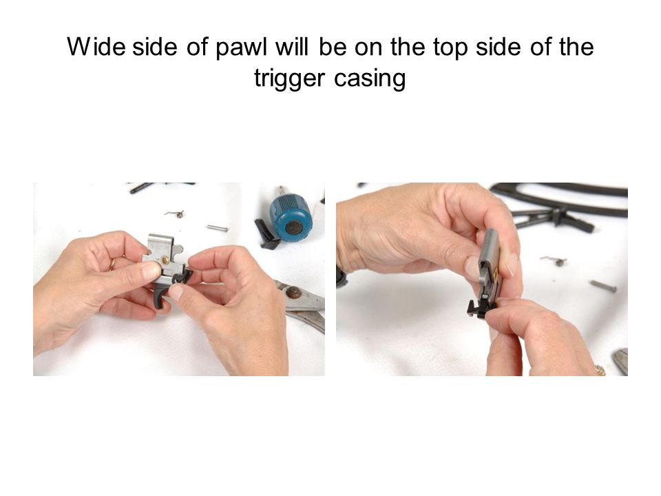 Wide side of pawl will be on the top side of the trigger casing