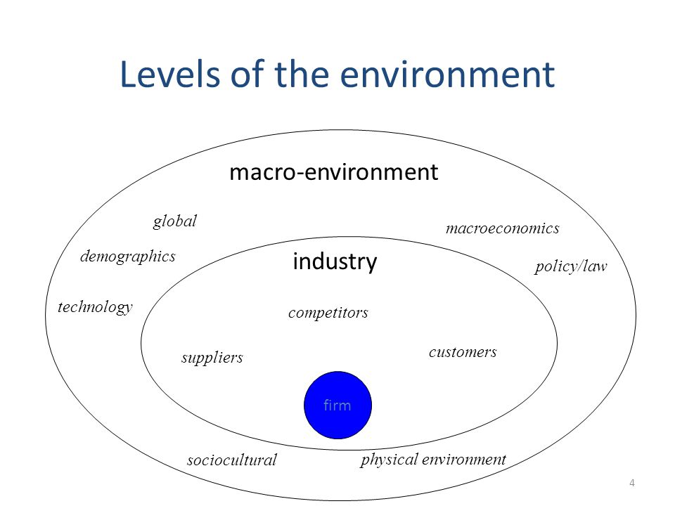 4 Levels of the environment firm macro-environment industry suppliers customers competitors technology demographics policy/law macroeconomics global s